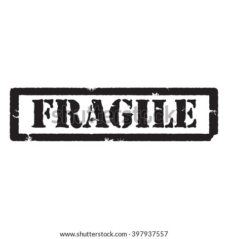 Raster illustration black grunge rubber stamp with text fragile isolated on white background - stock photo