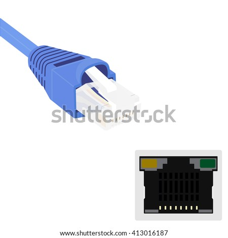 Raster illustration blue realistic ethernet network cable and port. Cable icon. Ethernet connector for mobile apps, web sites - stock photo