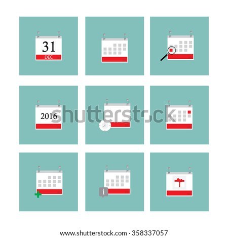 Raster illustration calendar icon set with year, day, month. Calendar symbols with magnifying glass, clock and birthday gift - stock photo