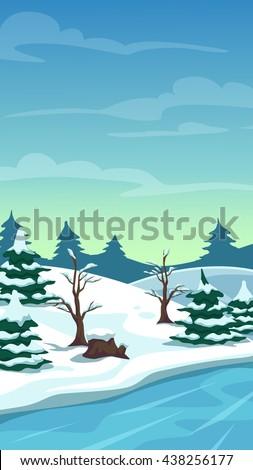 Raster illustration. Cartoon winter landscape, vertical size for mobile phone screen  - stock photo