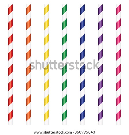 Raster illustration colorful cocktail drinking straws set - stock photo