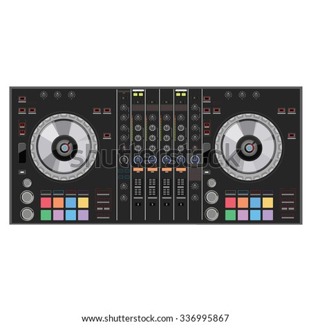 raster illustration dj club music console. Mixing desk production sound desk console sliders, buttons, knobs and switches - stock photo