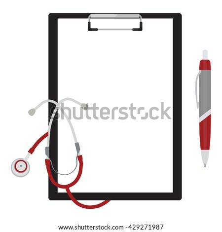 Raster illustration document template on black clipboard, with stethoscope and ball pen. For health, life insurance or health examination - stock photo