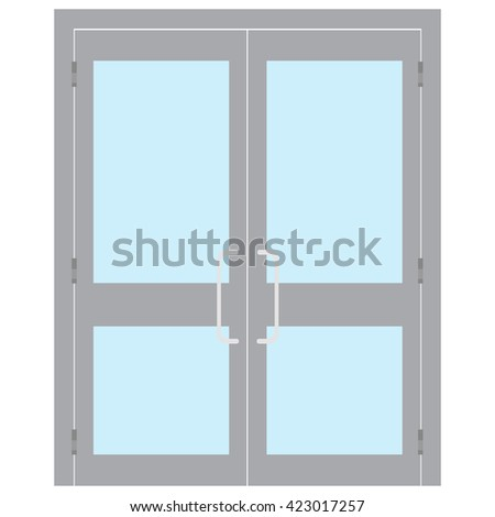 Raster illustration entrance door for office, home, store, mall, shop, supermarket isolated on white in flat style. Shop Front.  - stock photo
