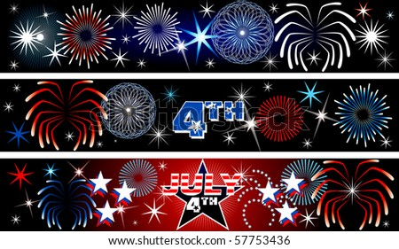 Raster Illustration for the 4th of July Independence Day Banners Background. Set of 3.  Also available in vector. - stock photo