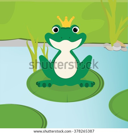Raster illustration green, cute frog with golden crown on head sitting on the water lily leaf in lake.  - stock photo