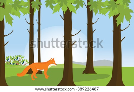 Raster illustration green sunny forest landscape and red cute fox. Forest background - stock photo