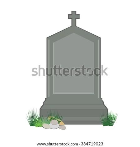 Raster illustration grey gravestone with cross on green grass. Flat tombstone icon - stock photo
