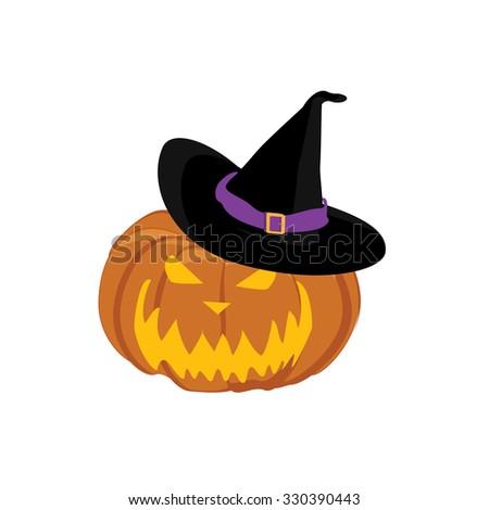 raster illustration halloween pumpkin with witches hat. Jack O Lantern - stock photo