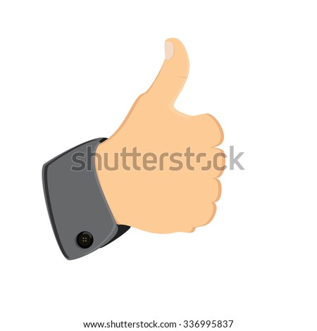 raster illustration like or share symbol. Thumb finger up flat icon or button - stock photo
