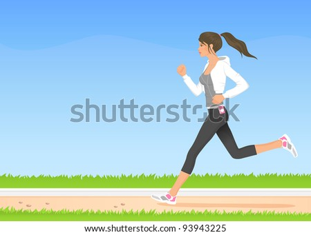 raster illustration of a beautiful girl in hoodie jogging in the park - stock photo