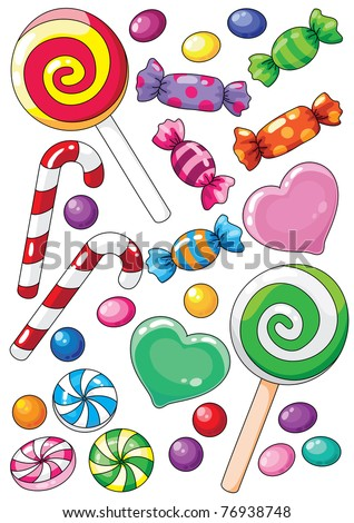 raster illustration of a beautiful sweets - stock photo