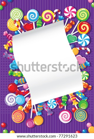raster illustration of a candy and sweets card - stock photo