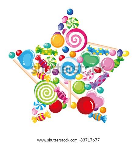 raster illustration of a candy star white - stock photo