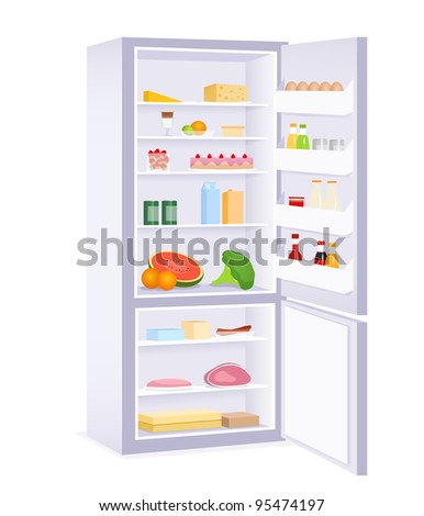 raster illustration of a modern refrigerator with food - stock photo