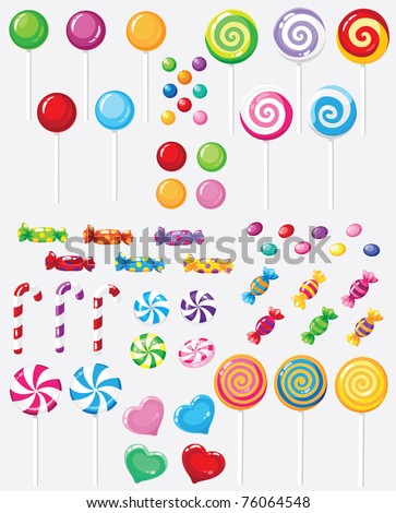 raster illustration of a raster version candy set - stock photo