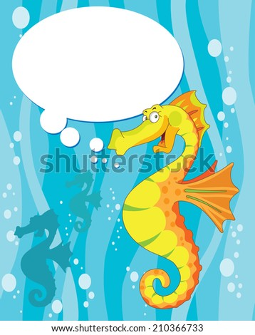 raster illustration of a talking sea horse - stock photo