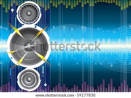 Raster illustration of audio speaker wave. (Vector version available:14753233) - stock photo