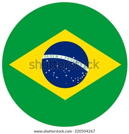 raster illustration of brazil flag. Round national flag of brazil. Brazilian flag - stock photo