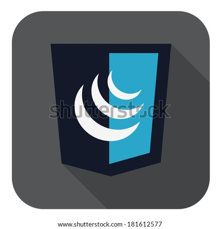 raster illustration of dark blue shield with javascript sign, isolated web shield - stock photo