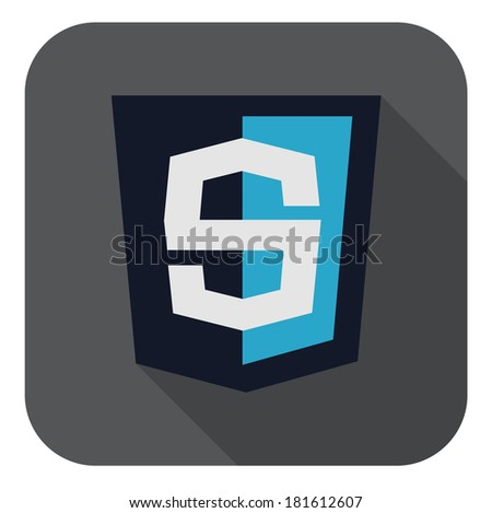 raster illustration of dark blue shield with s letter on the screen, isolated web site development icon on white background - stock photo