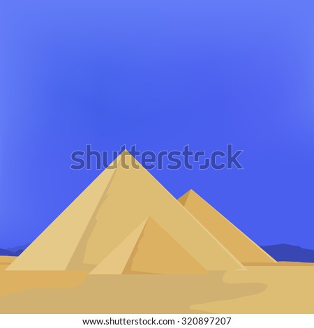 raster illustration of egypt pyramids with sky, sun, sand. Pyramids giza. The flames of sunset - stock photo
