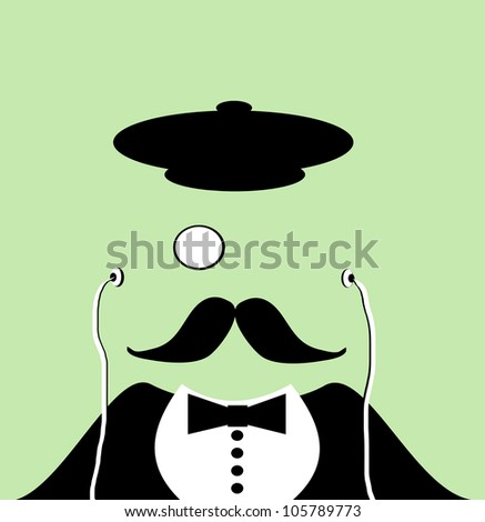 raster illustration of gentleman wearing old hat and monocle listening to music - stock photo