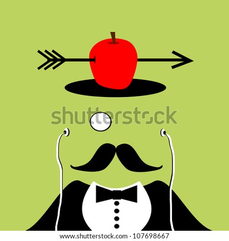 raster illustration of gentleman with monocle and earphones has apple and arrow falling through hole in head - stock photo
