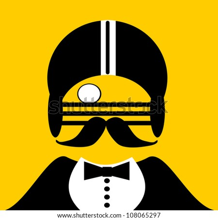 raster illustration of gentleman with monocle and football helmet - stock photo