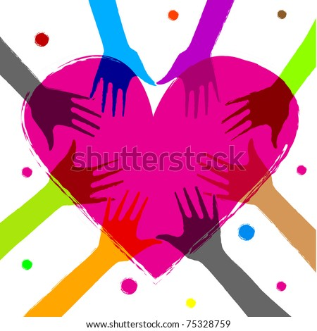raster illustration of heart with human hands on it - stock photo