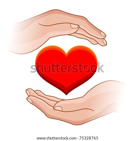 raster illustration of human hands with heart in it - stock photo