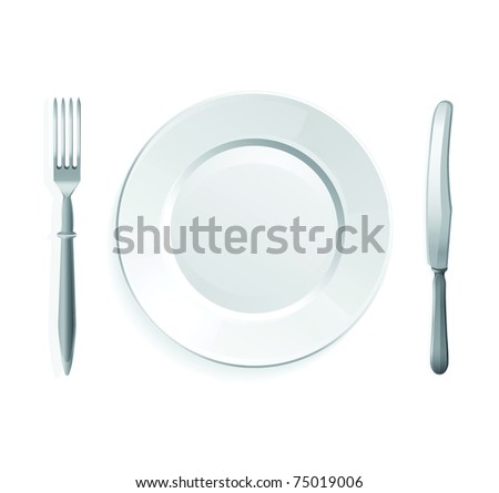 Raster illustration of knife, fork and white plate,isolated on white background. - stock photo