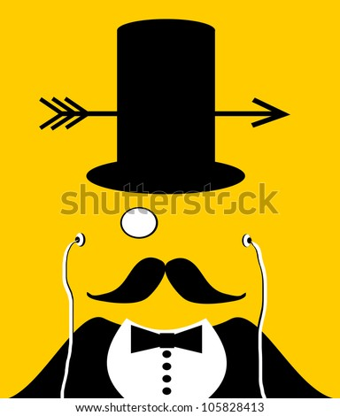 raster illustration of man wearing top hat with arrow and monocle - stock photo
