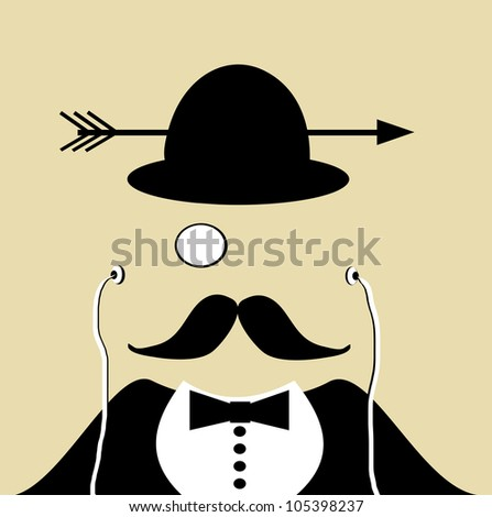 raster illustration of man with bowler hat and monocle - stock photo