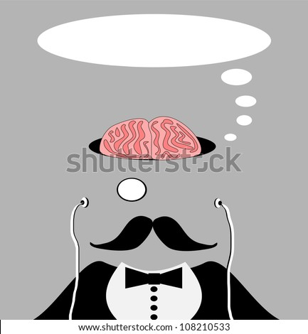 raster illustration of man with brain exposed wearing monocle - stock photo