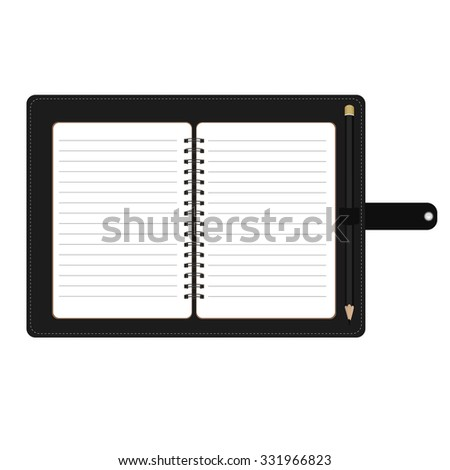 raster illustration of personal organizer, diary or notebook. Opened organizer in black leather cover with pencil. Notebook with spiral and blank lined paper - stock photo