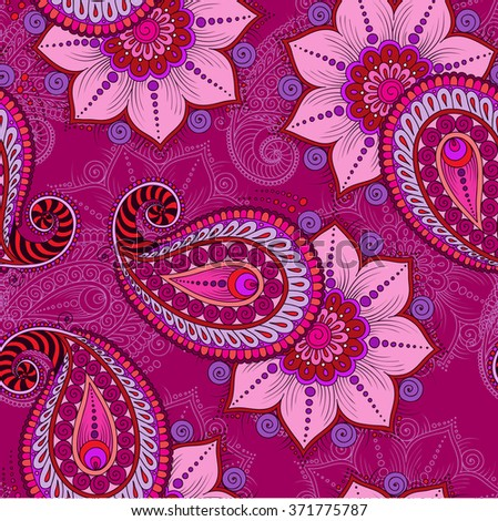 Raster  illustration of  pink  seamless paisley pattern   - stock photo