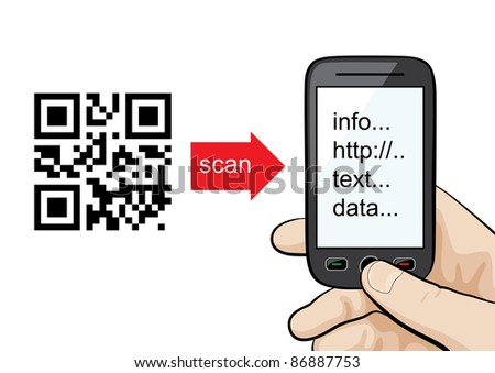 Raster illustration of QR codes scanning technology. Manual or concept - mobile phone in the male hand scanning qr code. - stock photo