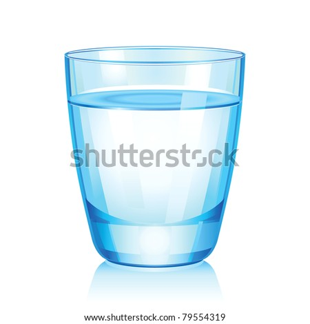 Raster illustration of short glass with water. - stock photo