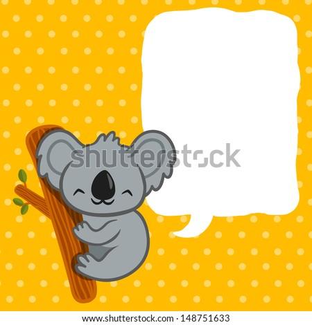 Raster illustration of smiling cute cartoon koala. - stock photo