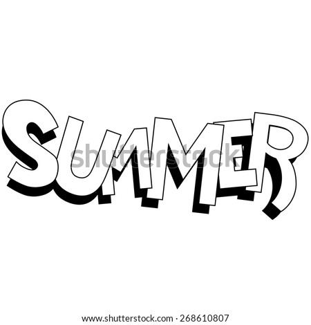 raster illustration of summer black and white - stock photo
