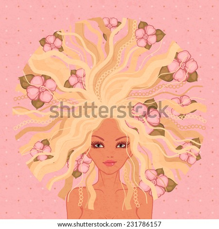 raster illustration of the beautiful girl with pink flowers - stock photo