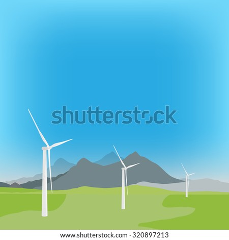 raster illustration of wind turbine in background with field and mountain landscape. Wind power, wind energy - stock photo