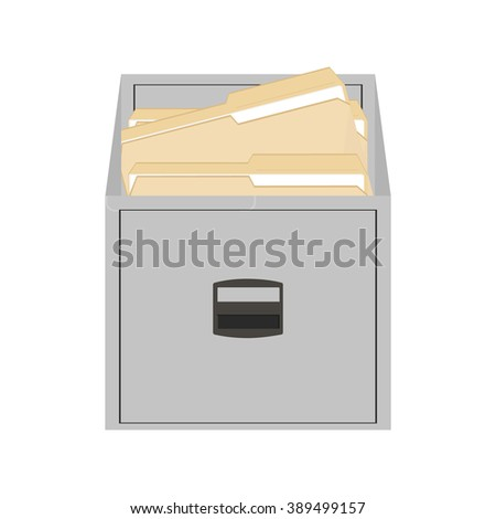 Raster illustration opened card catalog with file folders. Office furniture. Metal filing cabinet. Documents in folder - stock photo