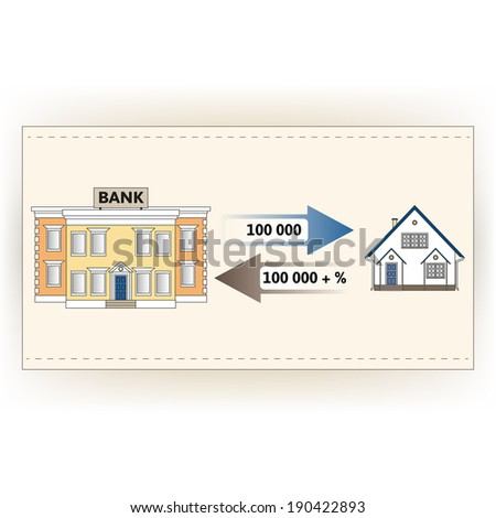 Raster illustration: ?ortgage loan to buy a house. Returns mortgage loan with interest. Infographics: Mortgage loan as a cash flow. Buying real estate. - stock photo