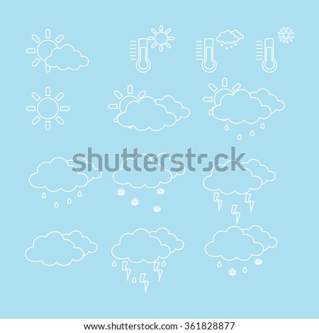 Raster illustration outline drawing weather icon set. Weather forecast - stock photo