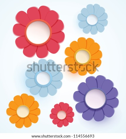 Raster illustration paper crafted colorful daisy flowers - stock photo