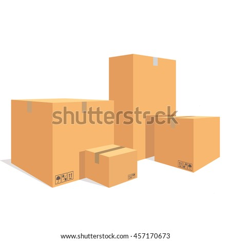 raster illustration pile of cardboard boxes isolated on a white background - stock photo