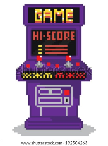 raster illustration - pixel art style drawing of arcade cabinet, screen shows high scores list, isolated vintage item on white background - stock photo