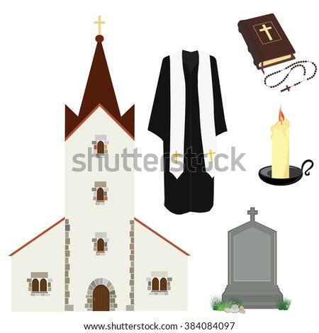 Raster illustration prayer priest pastor or preacher clothing. Holy Bible and rosary beads with cross. Gravestone and church building. Religion symbols - stock photo